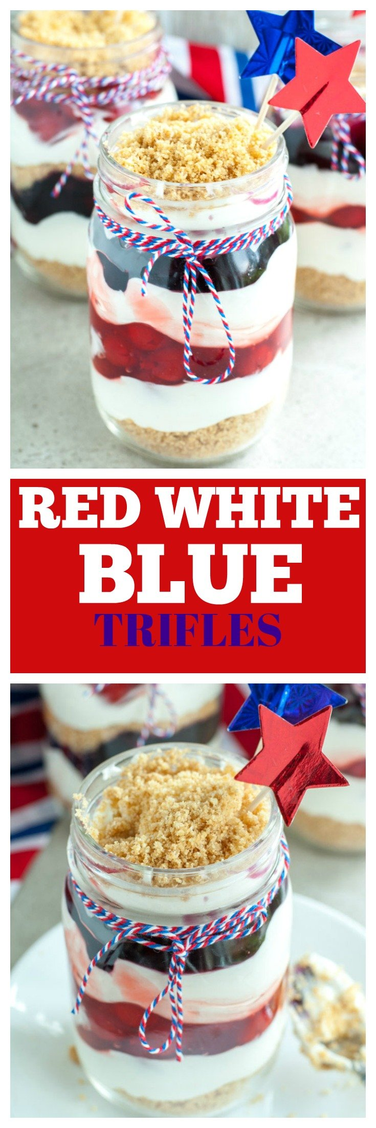 Red White and Blue Trifles perfect no bake dessert for 4th of July or Memorial Day. Made with blueberry pie filling and cherry pie filling.