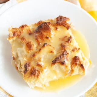 bread pudding with sauce on a plate