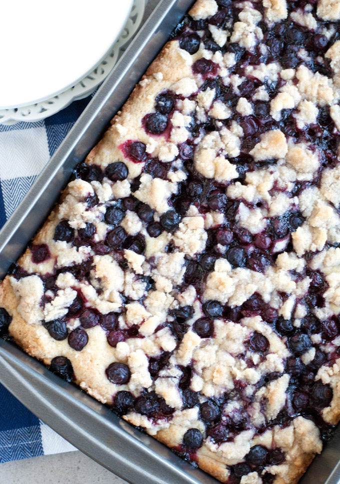 Blueberry Buckle in pan