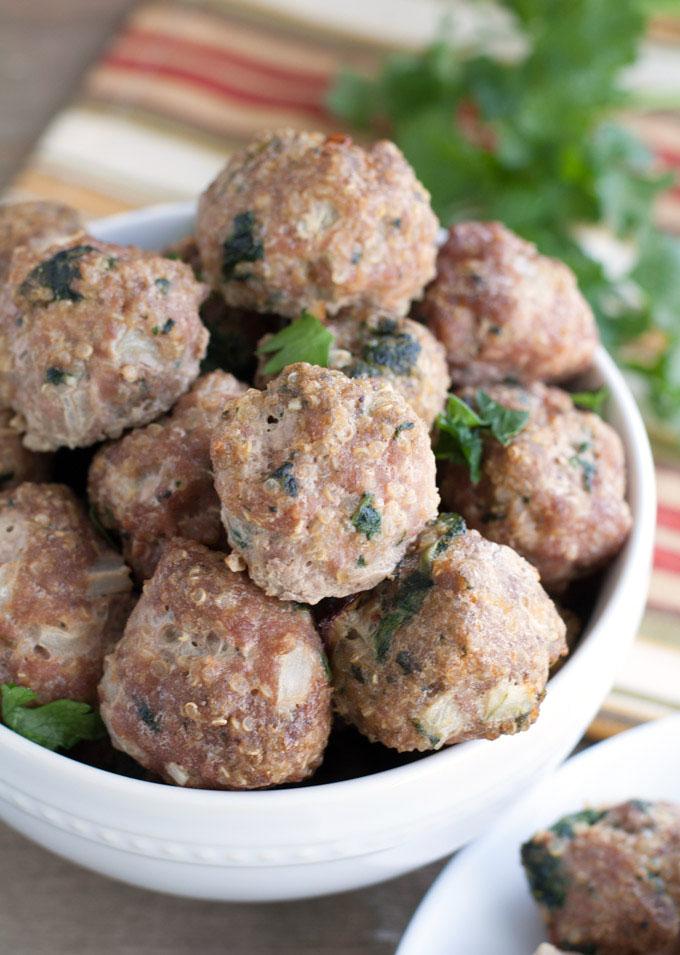 Turkey Quinoa Spinach Meatballs in a bowl