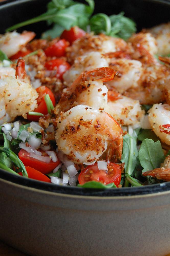 Shrimp and Arugula Pasta in a bowl