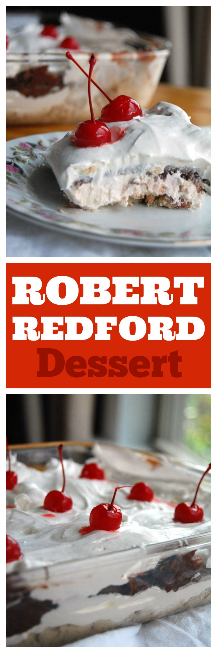 Robert Redford dessert is a classic. Also called Better than Robert Redford it has a pecan crust, cream layer and chocolate pudding layer. Great for potlucks, parties and BBQ's #robertredford #chocolatedessert #pudding #layereddessert