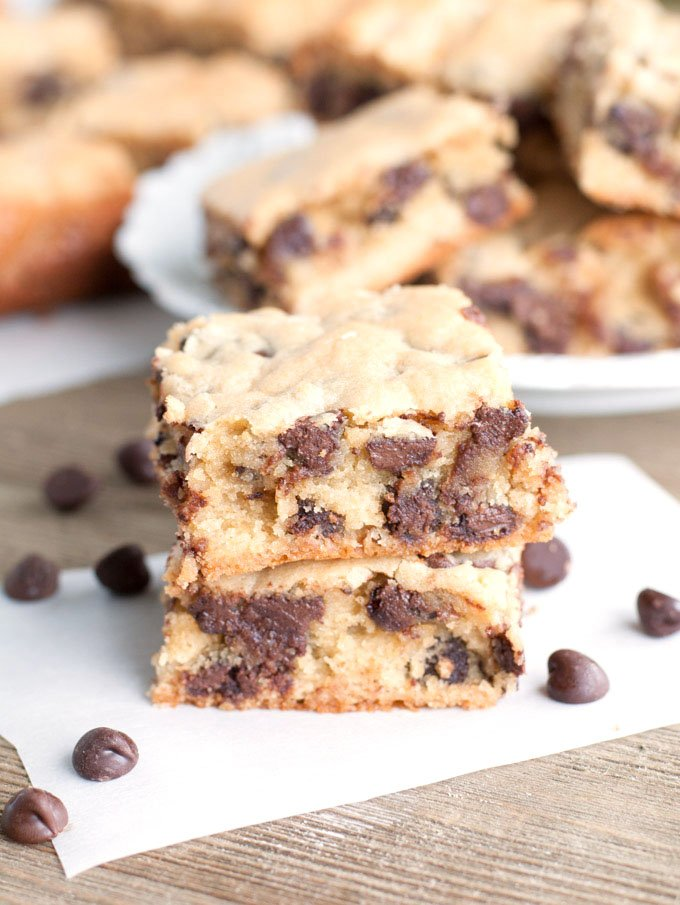 Congo Squares are cookie bars filled with chocolate chips.
