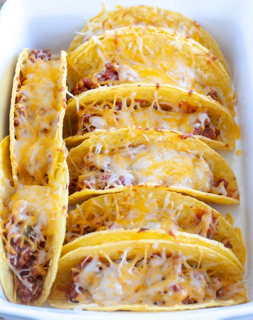 Tacos in baking dish