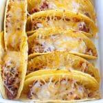 Beef tacos in casserole dish.