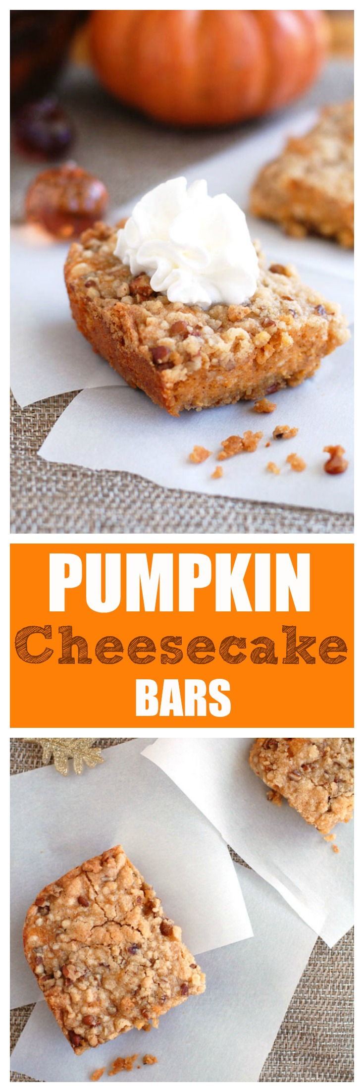 The Best Pumpkin Cheesecake bars are a great combination of a delicious crust topped with a rich and creamy pumpkin cheesecake and topped with a crumb topping. #pumpkin #pumpkincheesecake #falldesserts