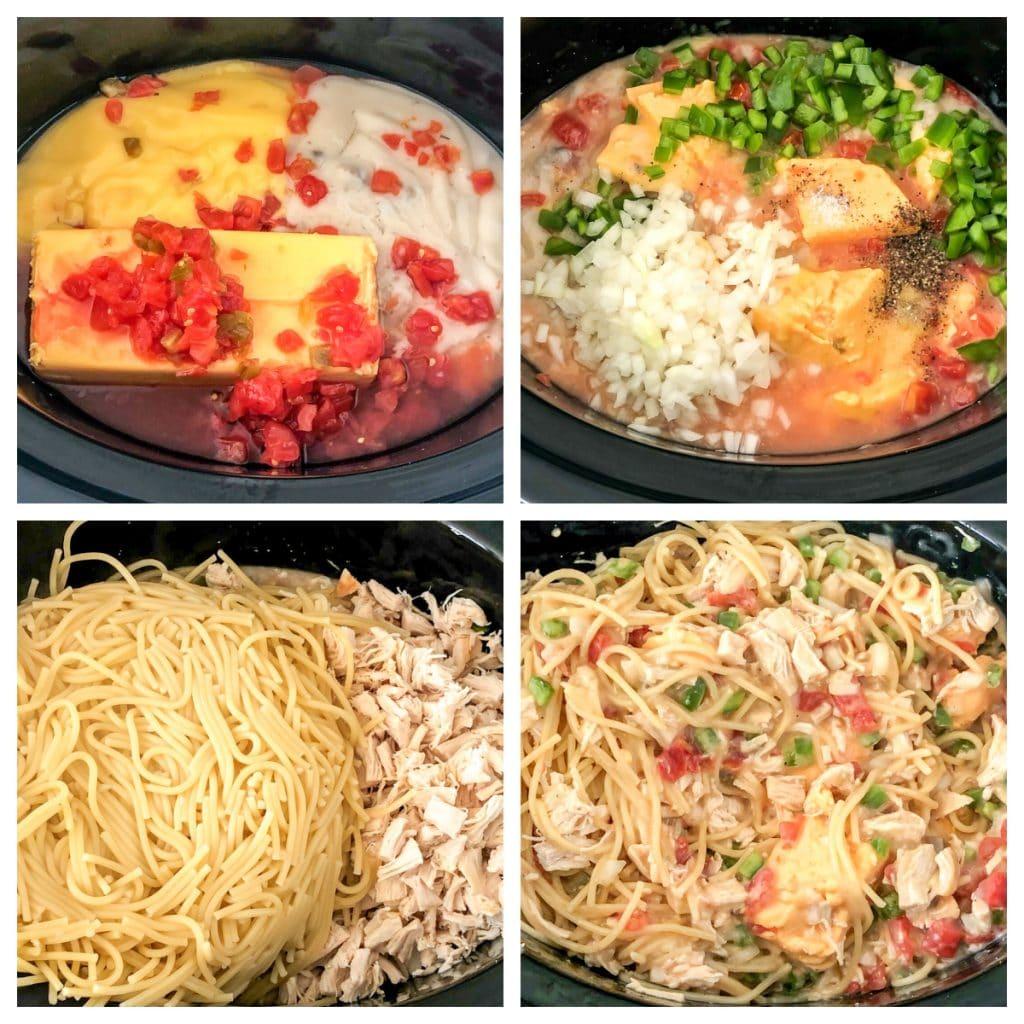 Velveeta, tomatoes, chicken, pasta in slow cooker.