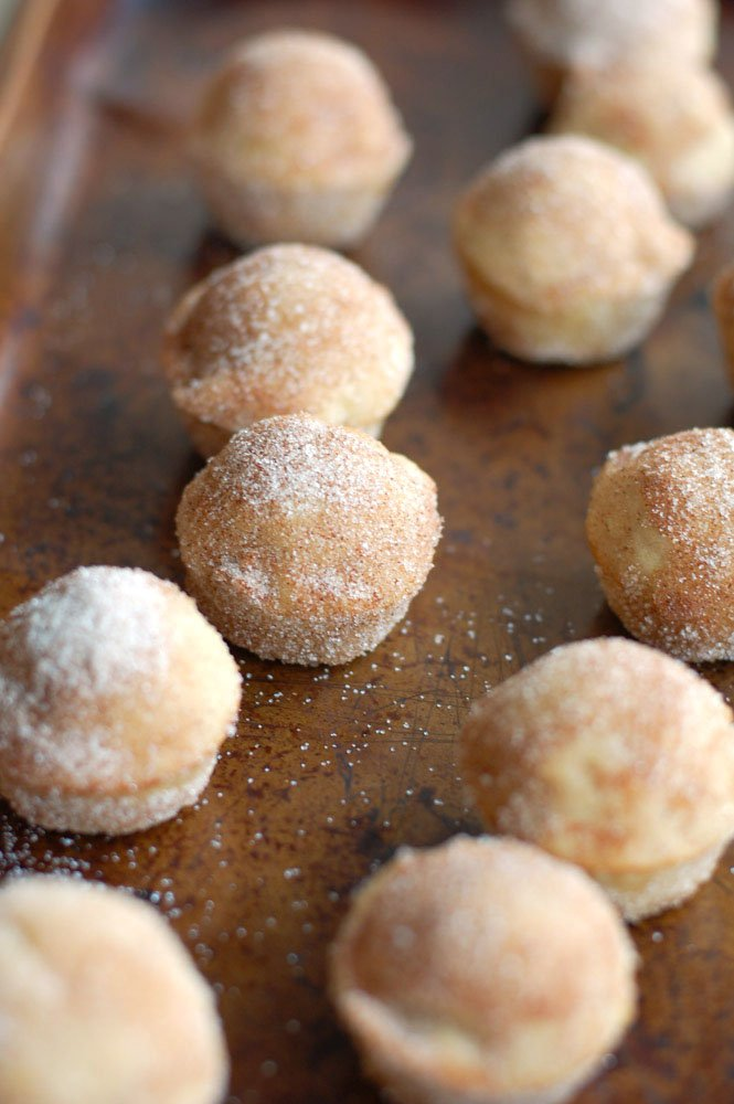 donut holes on a pan