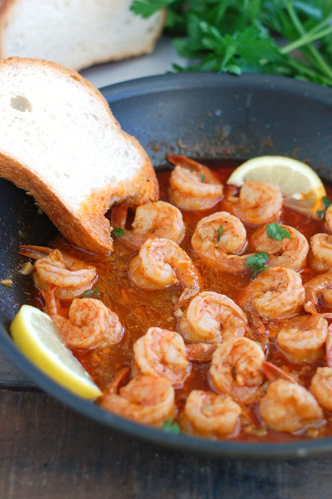 BBQ Shrimp in a pan