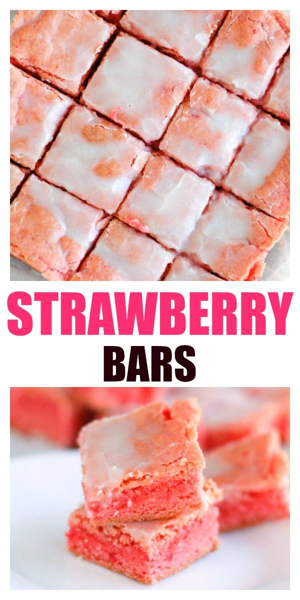 Strawberry Bars are easy to make. Only 6 ingredients for this #strawberrydessert. #cakemix #strawberrybars #strawberry