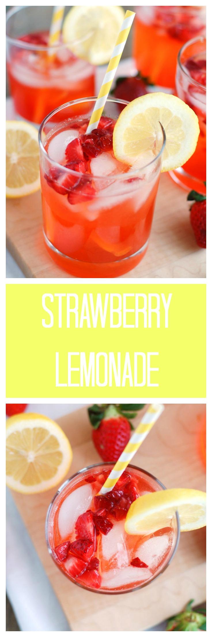 Strawberry Lemonade - Easy strawberry lemonade. Great for a party or brunch. #strawberrylemonade #lemonade #drink #strawberry #brunch #party