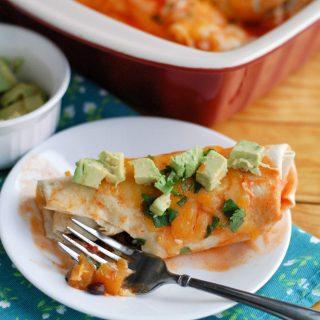 Butternut Squash and black bean enchiladas