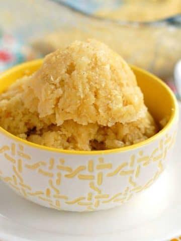 Sweet Corn Cake in a bowl.