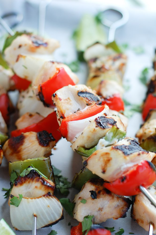 Fajita Style margarita marinated grilled chicken with vegetables. The perfect chicken kabob recipe great for easy dinner, fiesta or cinco de mayo.
