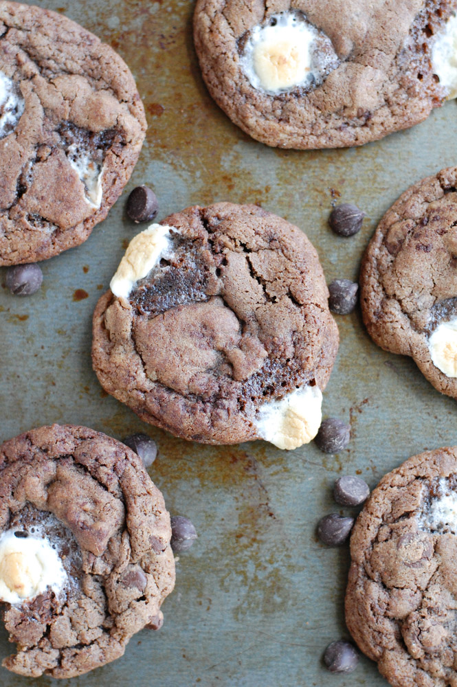 Chocolate and marshmallow cookies on a pan.
