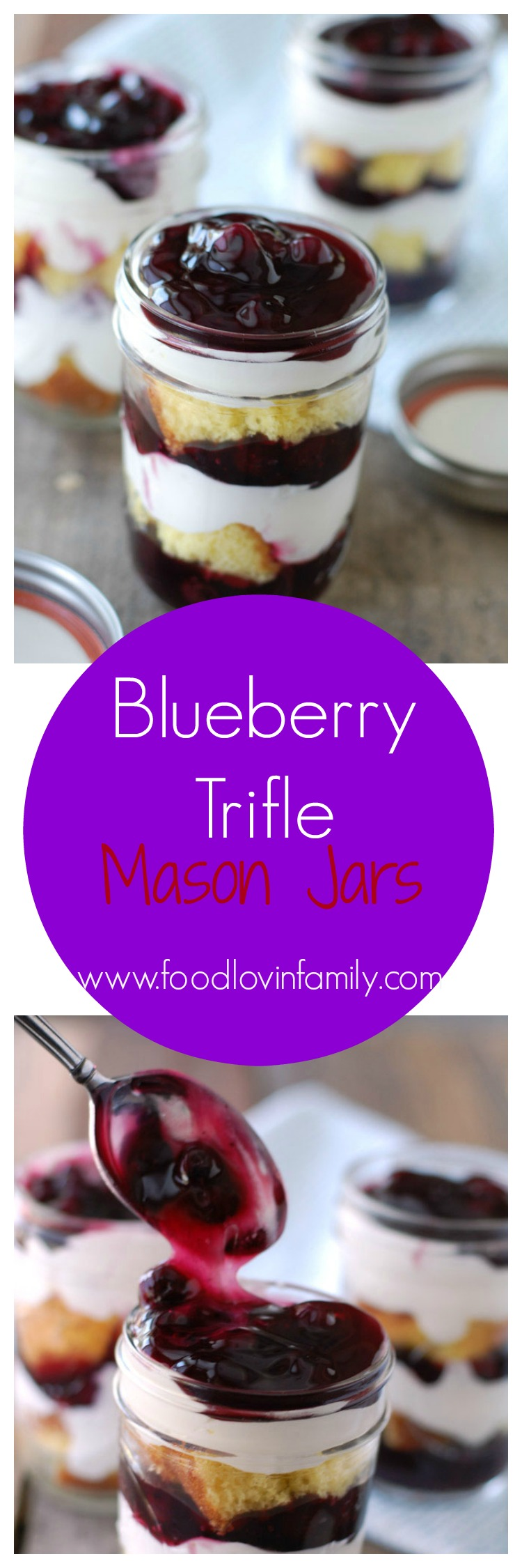 Blueberry Trifle layers of lemon cake, blueberry pie filling, and cream are assembled in Mason jars to make a delicious and portable dessert.