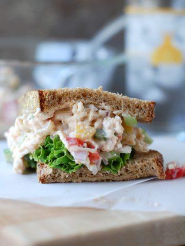 Sandwich on a table.