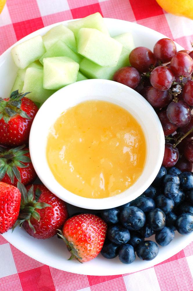 Fruit platter with orange dip.