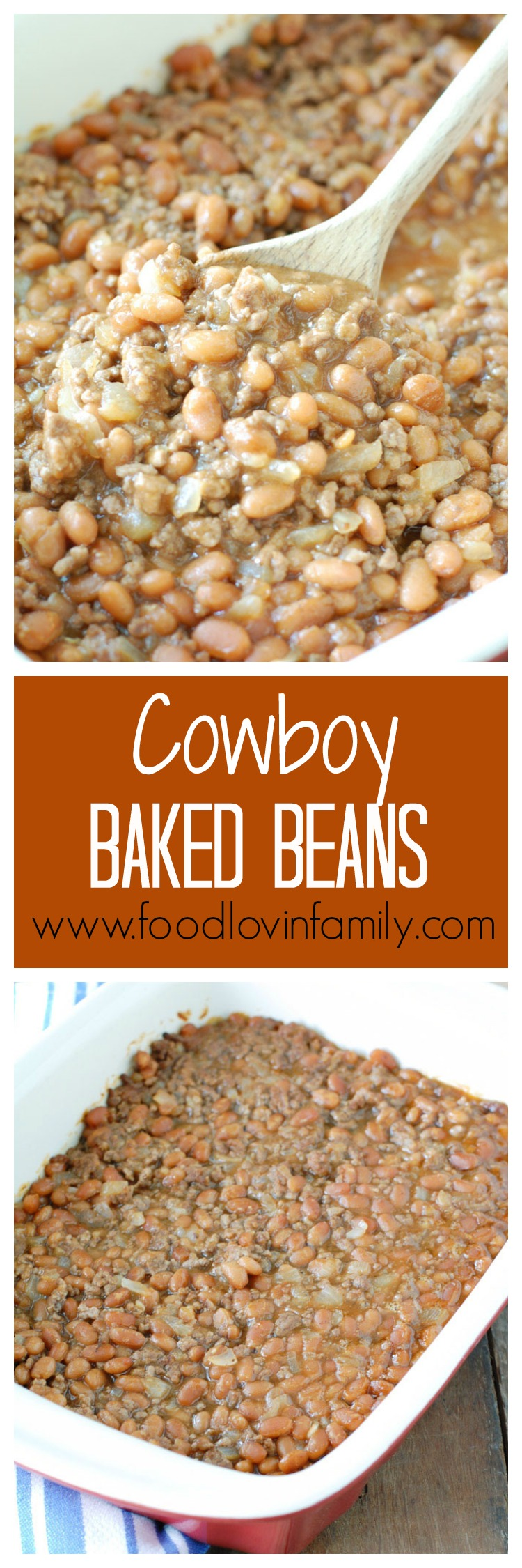 Cowboy Baked Beans are a staple at our house during the summer. Adding in some ground beef, onion and yes even brown sugar set them apart from original baked beans. This makes a great addition to potlucks, BBQ's and dinner.