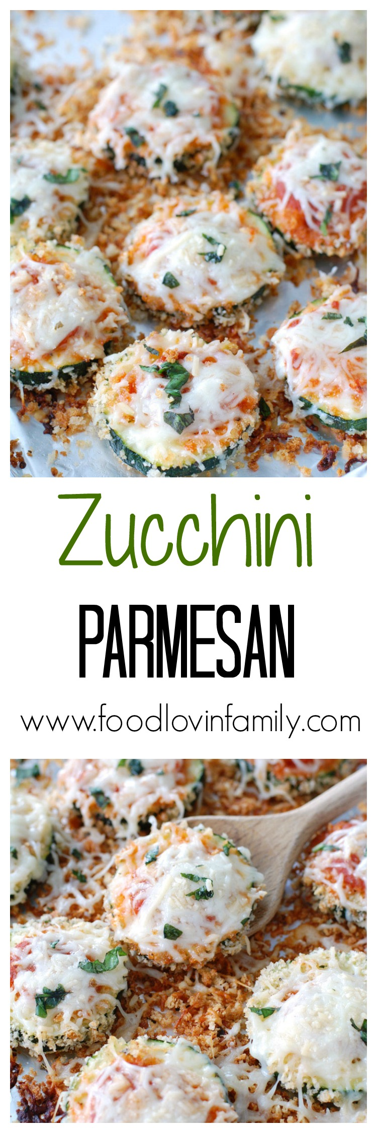 Zucchini Parmesan is a great way to use leftover zucchinis and makes a perfect meatless Monday meal.