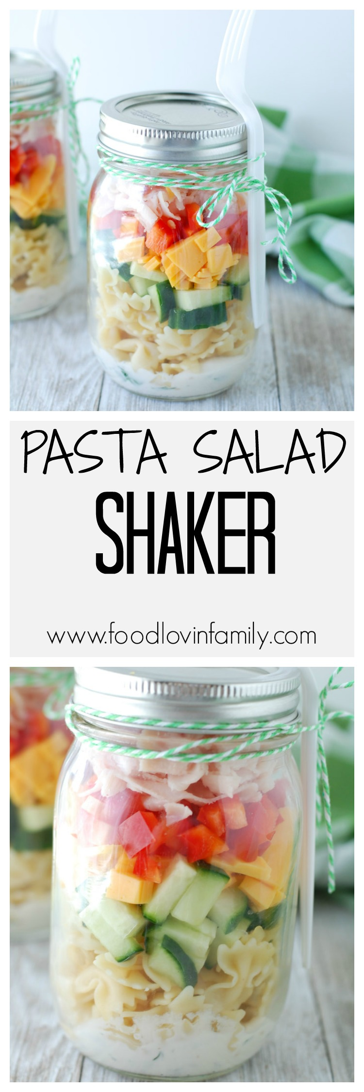 Forget sandwiches, these mason jar pasta salad shakers will shake up your lunch box routine. Filled with quality turkey and cheese, pasta, vegetables and a homemade ranch dressing these shakers are sure to please.