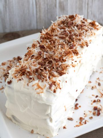 Cake with topped with toasted coconut.
