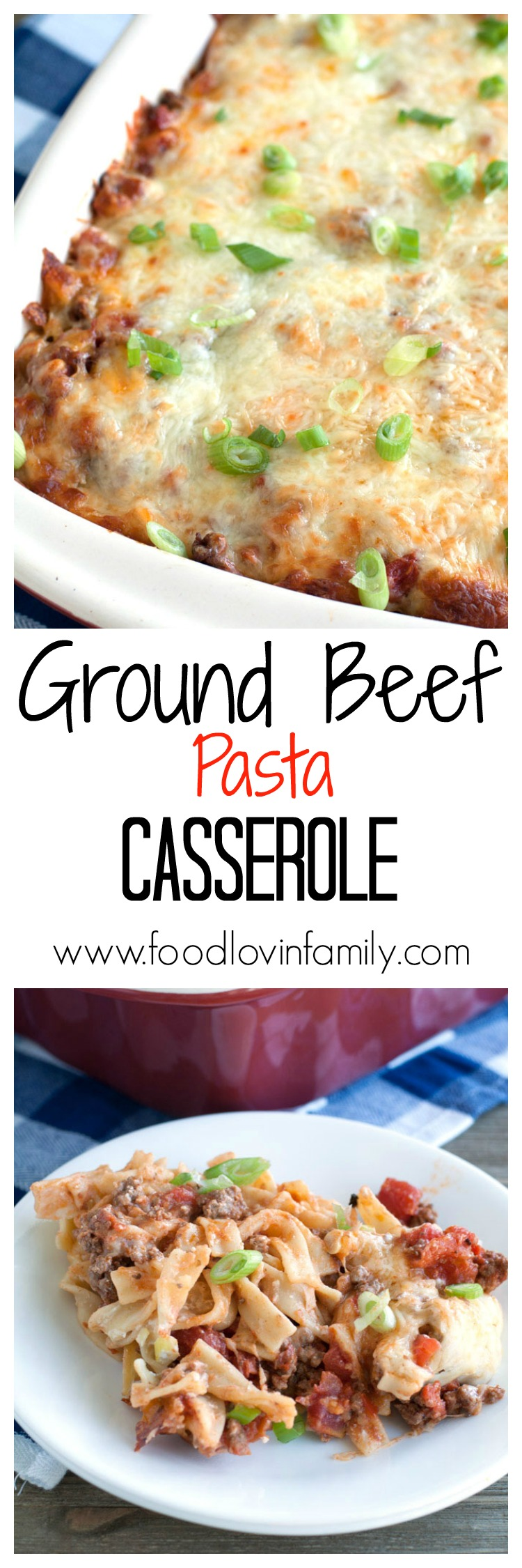 Ground beef pasta casserole filled with beef, cheese, tomatoes, sour cream and egg noodles. This is sure to become a family favorite!