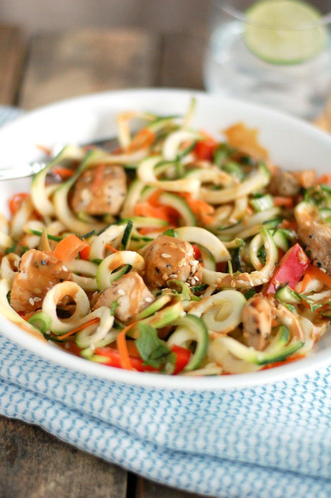 Plate with zoodles and diced chicken.