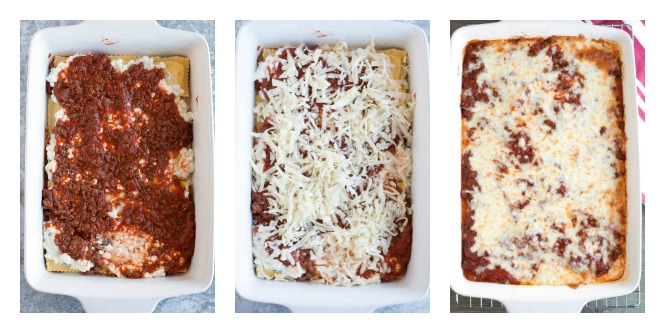 3 steps, meat sauce over ravioli layer, shredded cheese and then baked ravioli lasagna