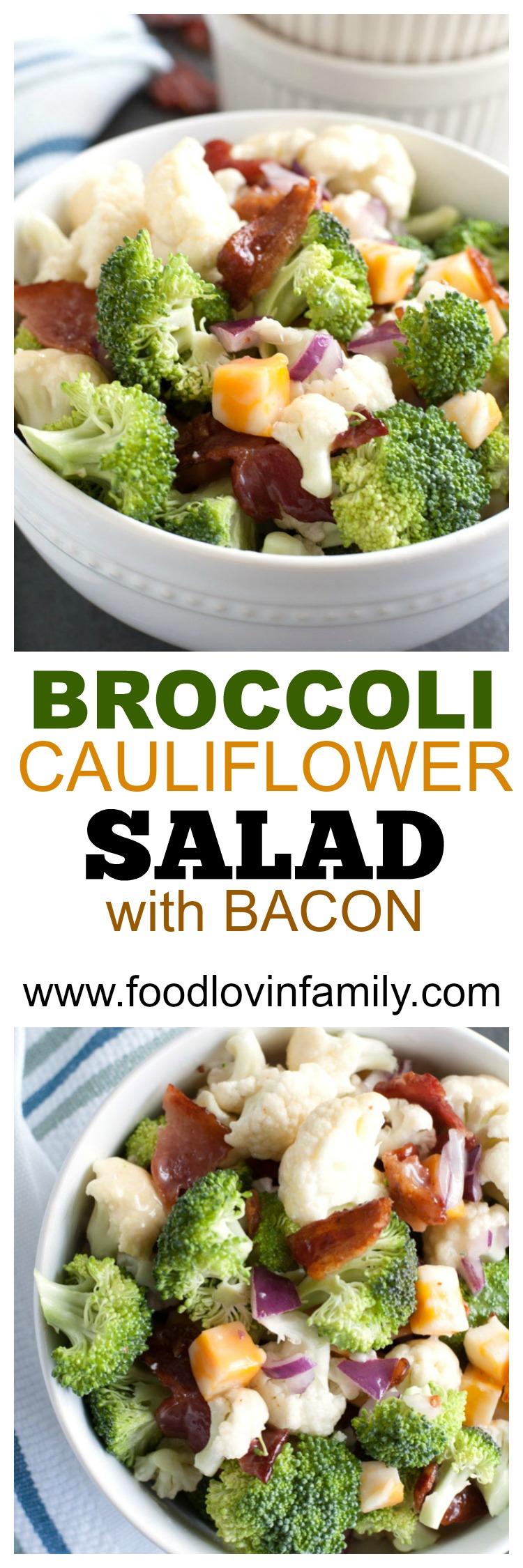 Broccoli Cauliflower Bacon Salad