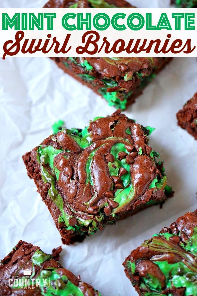 Mint Chocolate Brownies cut in squares