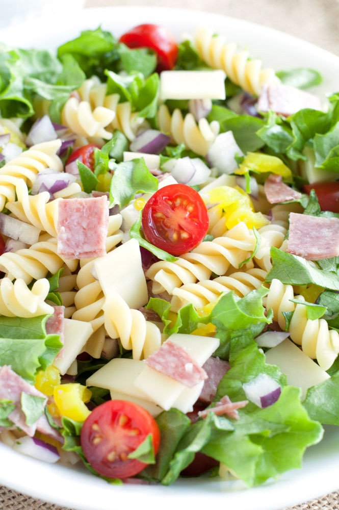 Italian Sub Pasta Salad in a white bowl