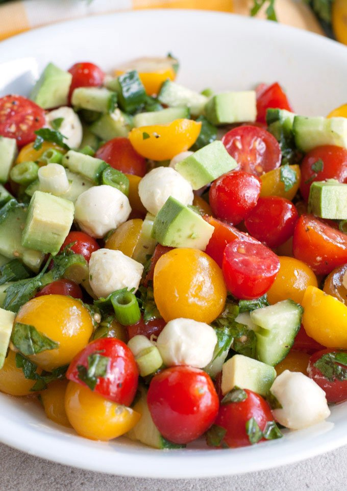 Cucumber Tomato Avocado Salad in a bowl