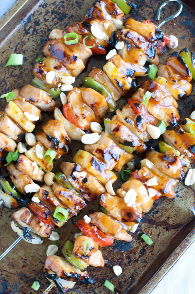 Kung Pao Chicken Skewers filled with chicken, peppers, onions and pineapple, coated in Kung Pao sauce - Asian cuisine made simple.