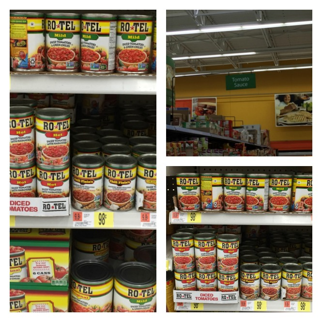 Grocery story with cans of RoTel.
