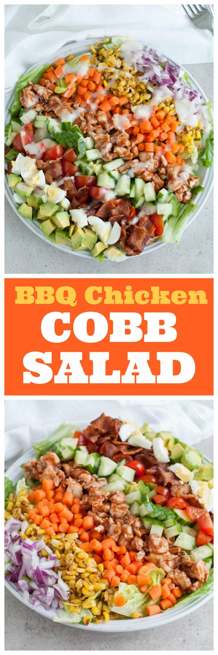 BBQ chicken salad in a bowl.