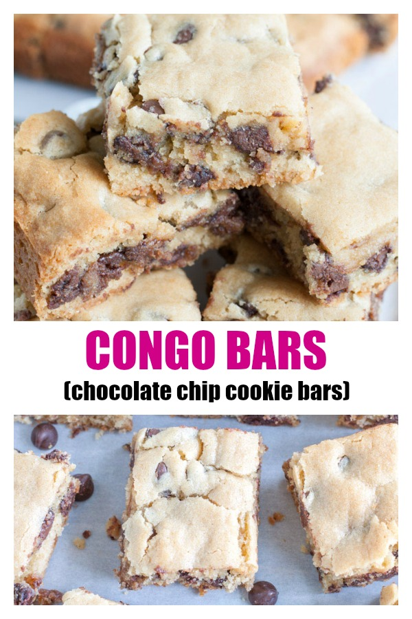 Congo Squares are cookie bars filled with chocolate chips. They are soft, chewy and a staple dessert in our family.#congobars #congosquares #chocolatechipbars #chocolatechip #cookiebars