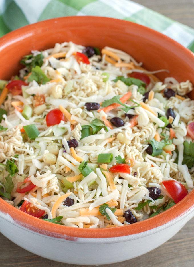 Ramen Noodle Taco Salad in a serving bowl