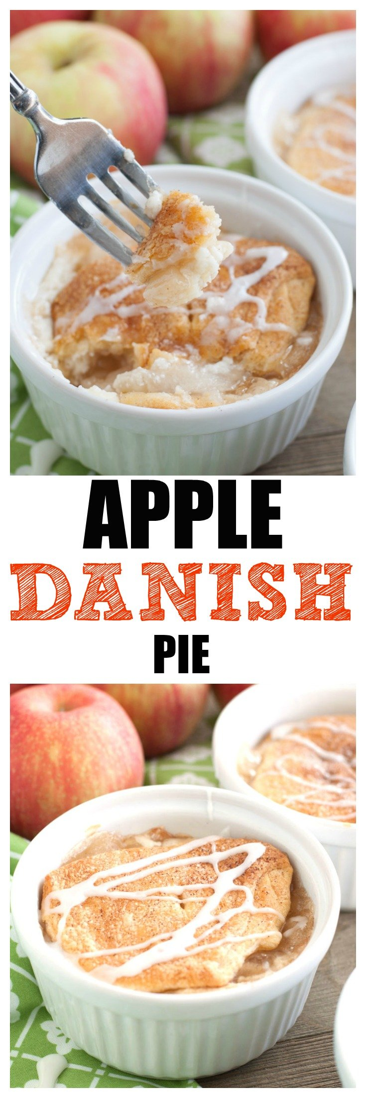 #appledesserts #applepie #appledanish Apple Danish Pie, cinnamon sugar spiced crescent roll layered with cream cheese, apple pie filling and topped with icing.