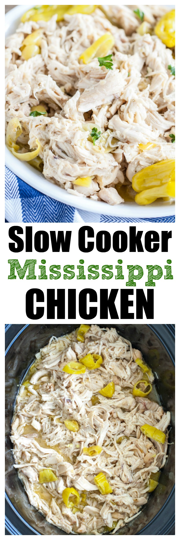 Slow Cooker Mississippi Chicken is an easy meal. Like Mississippi but with chicken. The chicken can be used for many things like tacos, nachos or with mashed potatoes.