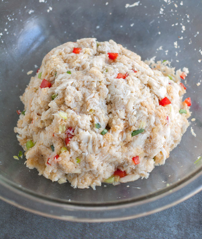 Filling for crab cakes in a bowl