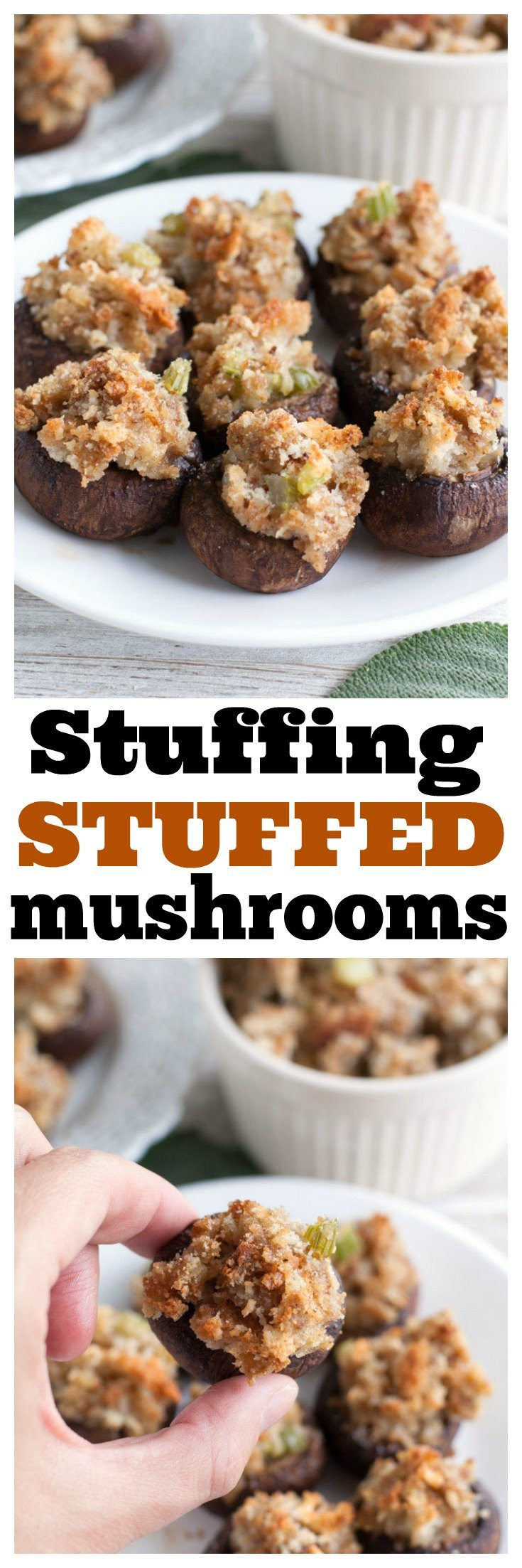 Stuffing Stuffed Mushrooms are the perfect appetizer for left over stuffing. Great for the holidays! #thanksgiving #stuffedmushrooms #stuffing #appetizers