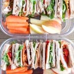 Container with stacked sandwich carrot stacks and apple slices.