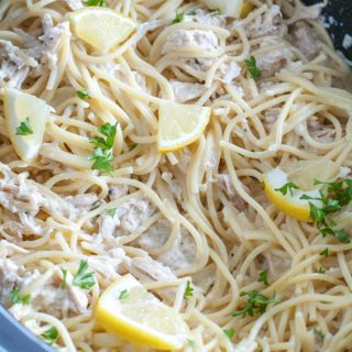 Slow Cooker Creamy Lemon Chicken Spaghetti