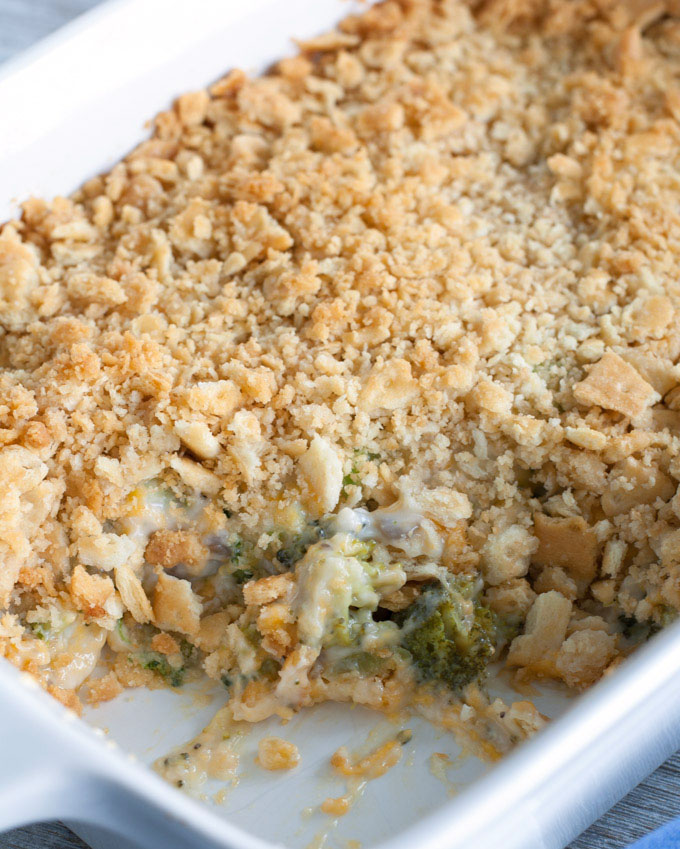 broccoli cheese casserole in a casserole dish