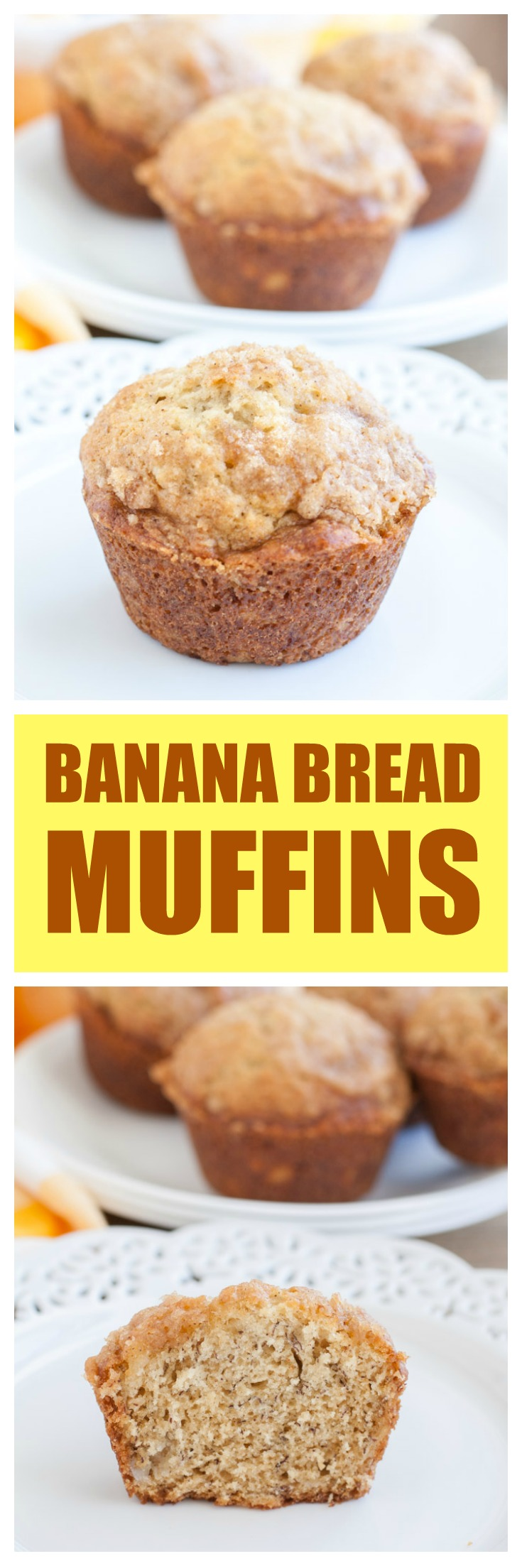 Banana Bread Muffins taste just like a loaf of banana bread. They are topped with a cinnamon crumble! #BananaBreadMuffins #BananaBread #muffins