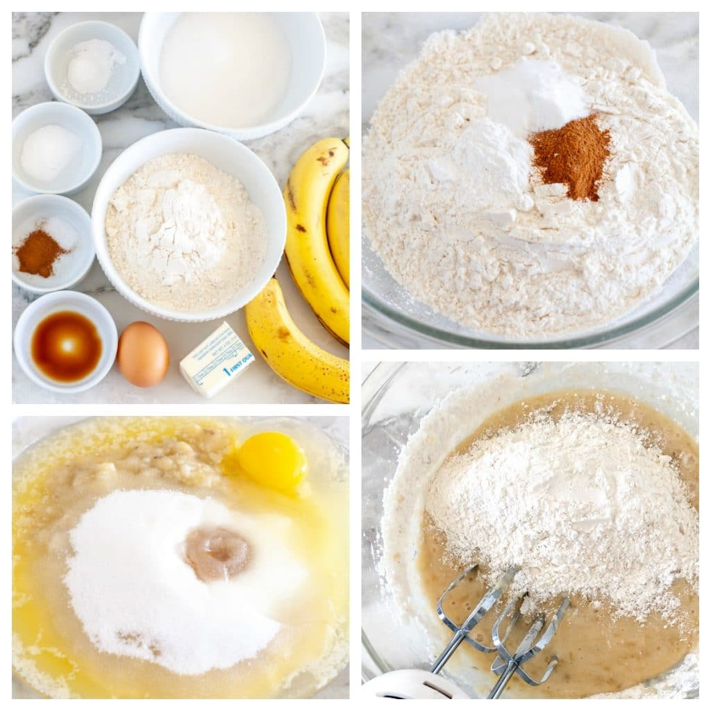 Flour, sugar, bananas, butter, egg combined in a bowl.