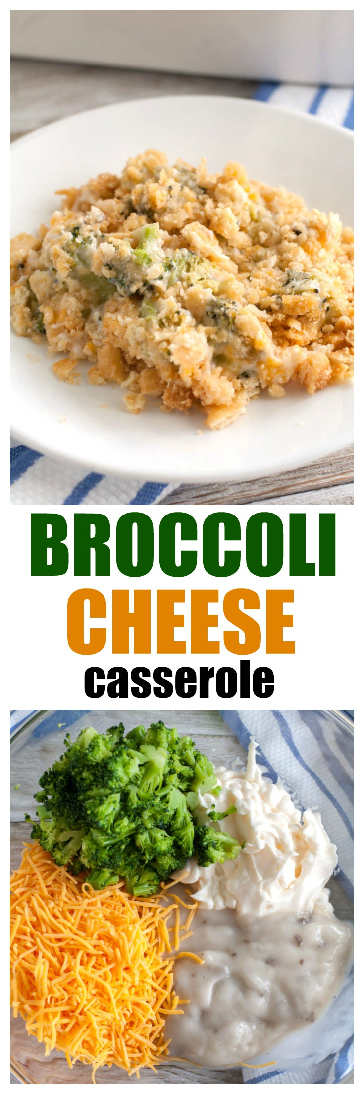 Broccoli Cheese Casserole is a creamy cheesy side dish topped with buttery cracker crumbs. I love serving this at holiday meals or as a side for chicken, pork or steak. #broccolicheesecasserole #casserole #broccoli #broccolicheese