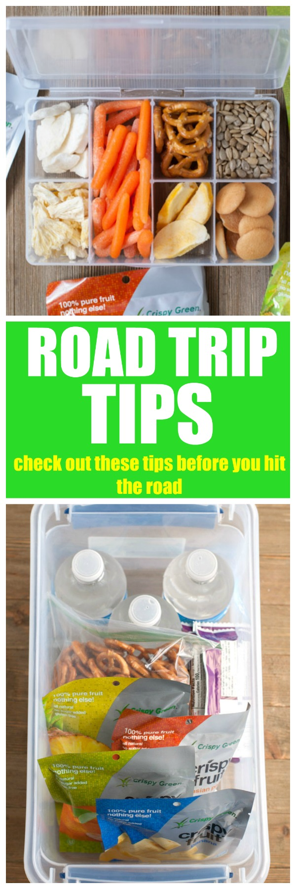 Road tip trips and tricks. Ideas for everything you will need in the car including a video on healthy snacks. #travel #vacation #crispygreen @crispygreen #snacks #healthysnacks