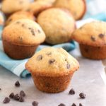 Chocolate chip mini muffins on table.
